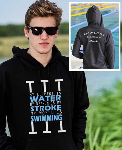 Water Stroke Swimming | Hoodie mit Team-Aufdruck