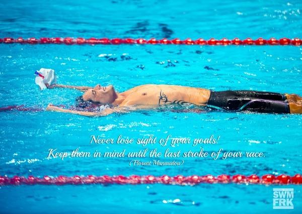 Poster mit Schwimmer Florent Manaudou