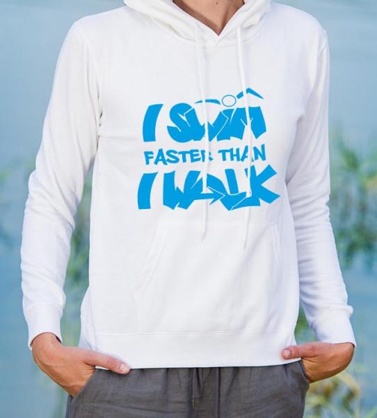Damen Pullover: I swim faster than I walk