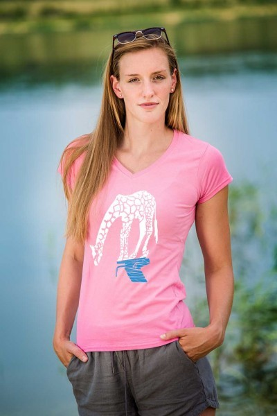 T-Shirt: Longo, die Schwimm-Giraffe