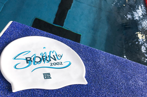 Born to swim Cap - with your birth year