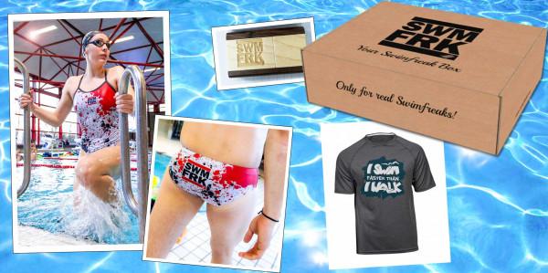 Die swimfreak-Box | Mit Schwimmanzug oder -hose im swimfreak Design | Jetzt anmelden